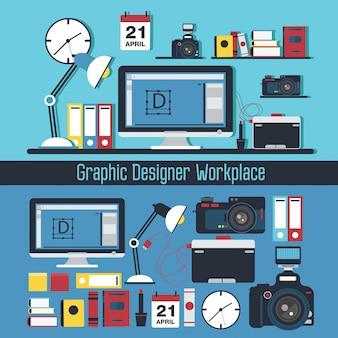 グラフィックデザイナーの職場のコンセプトです。コンピューターとデザイナーのツールと要素のセットを持つテーブル