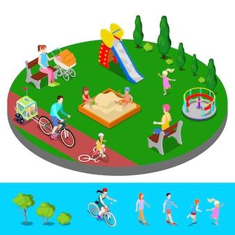 Изометрические детская площадка в парке с людьми, слайд и песочница.