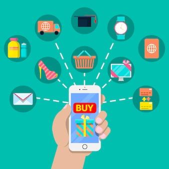 スマートフォンとさまざまなサービスとモバイル決済金融の概念。