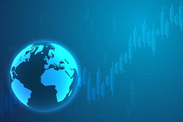 株式市場投資取引のビジネスキャンドルスティックグラフ。