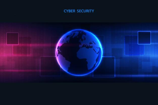青色の背景に抽象的な技術サイバーネットワーク。大きなデータの可視化。