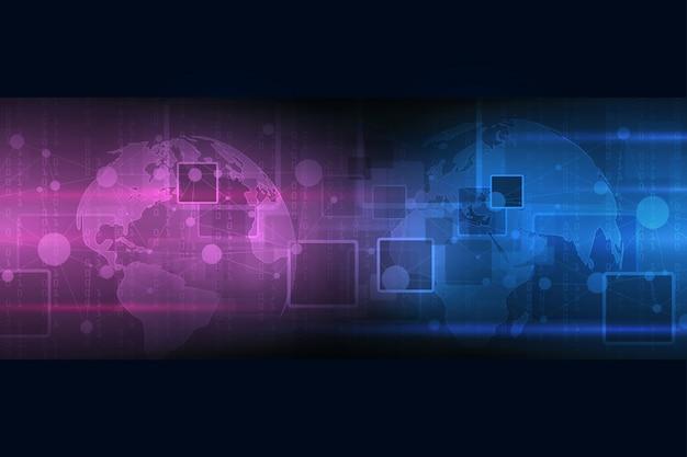 Технология абстрактного фона. большие визуализации данных. концепция безопасности кибер-цифровой.