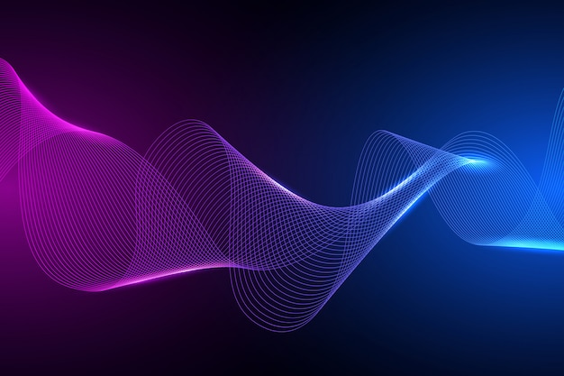 技術コンセプト。幾何学的な抽象的な背景。色の動的な波の図