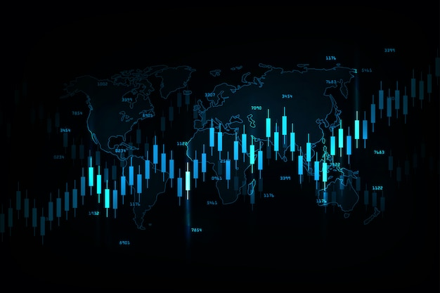 株式市場投資取引、強気ポイント、ビジネスと金融の概念、レポート、投資の弱気ポイントのビジネスキャンドルスティックグラフ。