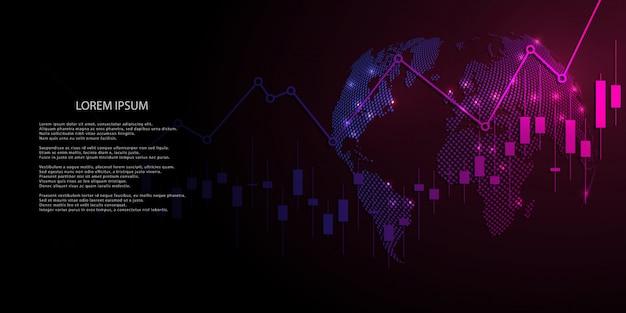 株式市場投資取引のビジネスキャンドルスティックグラフ