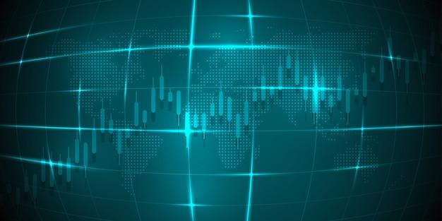 株式市場の投資取引のビジネスキャンドルスティックグラフ