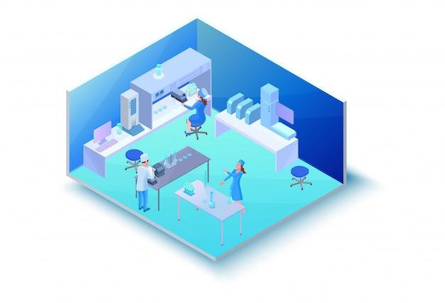 Изометрическая лабораторная комната с оборудованием
