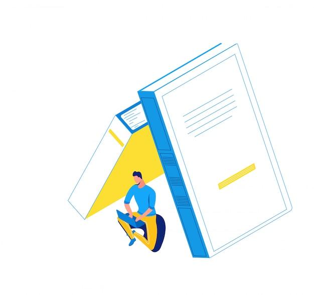 Человек, работающий на ноутбуке под книгами