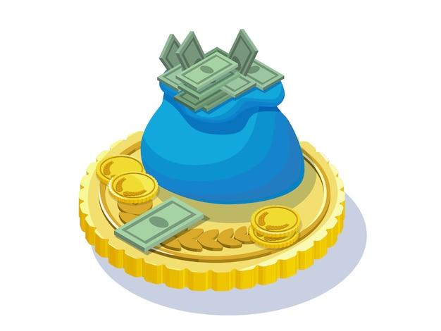Наличные деньги с золотыми желтыми монетами