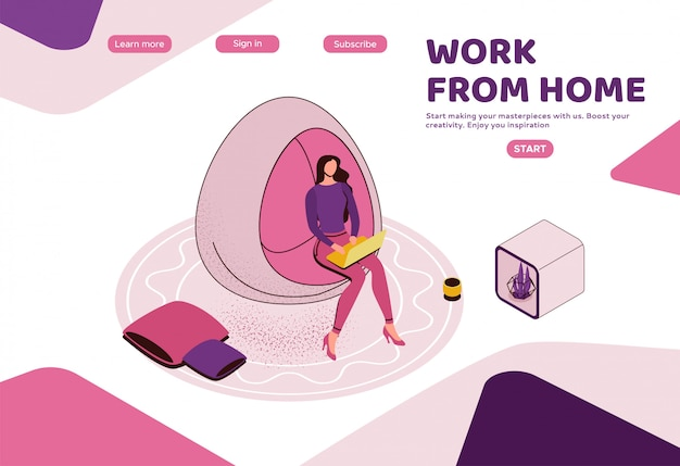Фрилансер работает в офисе, женщина с ноутбуком в коворкинг пространстве