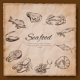 Морепродукты старинные иллюстрации