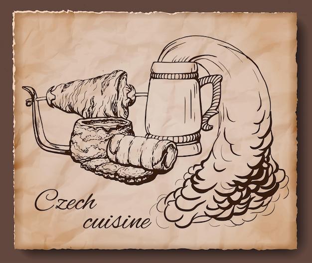 チェコ料理ヴィンテージのイラスト