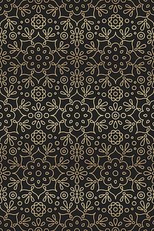 黒の背景に東洋のモチーフゴールデングラデーションでマンダラ、花と蓮の飾りとアラビア語とインドのシームレスパターン