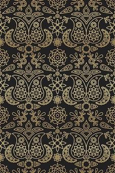 Индийский бесшовные модели с орнаментом пейсли и мандалы золотой градиент на черном фоне