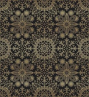 マンダラ、花、東洋をモチーフにした葉とのシームレスなパターン