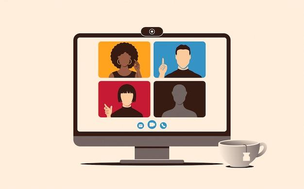 モニターで自宅から仕事のための電話会議。フラットスタイルの仕事や学習の概念のためのオンライン会議