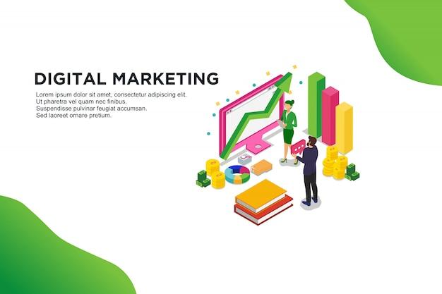 デジタルマーケティングのモダンなフラットデザイン等尺性概念。