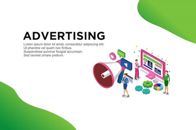 モダンなフラットデザインの広告の等尺性概念