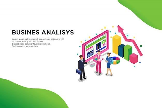 ビジネス分析のモダンなフラットデザイン等尺性概念