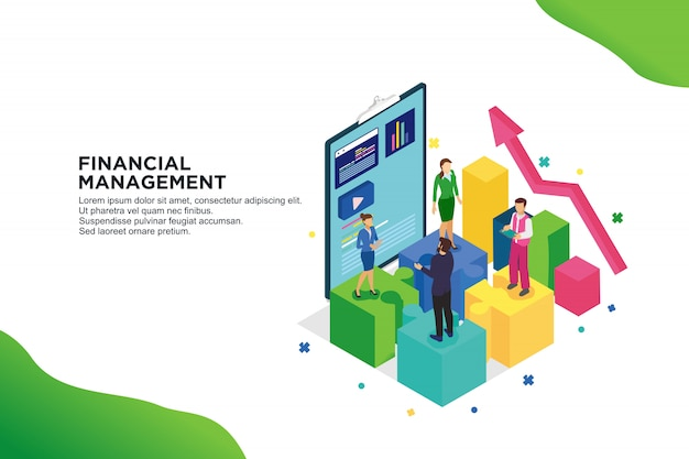 財務管理のモダンなフラットデザイン等尺性概念
