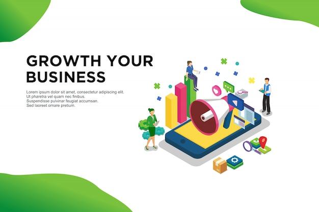 モダンなフラットデザインアイソメトリックコンセプトの成長あなたのビジネス