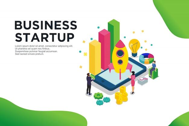 ビジネスのスタートアップのモダンなフラットデザイン等尺性概念