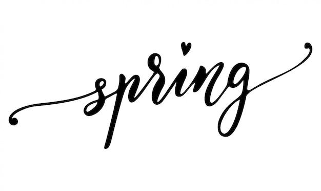 春の手描きのレタリング