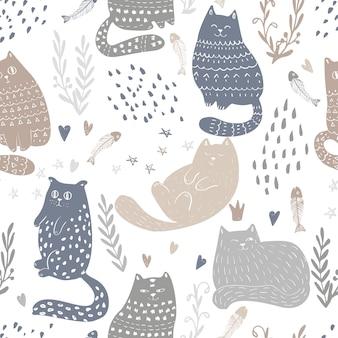 面白い猫のシームレスなパターン設計を落書き。赤ちゃんと子供たちの繊維と壁紙の背景。かわいいペットのラッピングとスクラップブッキングベクトルテンプレート。