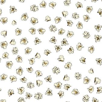 シームレスなポップコーンのパターン。ポップコーンの手描きの背景。