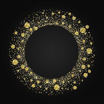 Золотая блестящая круглая рамка