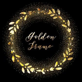 Золотисто-белая сверкающая цветочная рамка