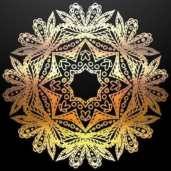 Золотая мандала этнический орнамент.