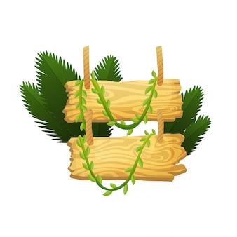 Деревянный знак в джунглях тропических лесов с тропическими листьями и пространства для текста. мультфильм игровая иллюстрация. рекламный дизайн рамы. старая доска украшена листьями лианы