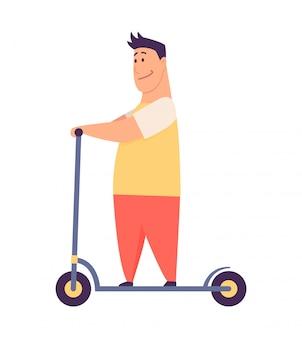 Молодой красавец езда на скутере, современный открытый транспорт, стоя позы. люди катаются на электричестве. дизайн в аренду сервис быстрой эко езды. иллюстрация в плоском стиле