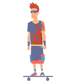 Молодой красавец езда на скейтборде, современный открытый транспорт, стоя позы. люди катаются на электричестве. дизайн в аренду сервис быстрой эко езды.