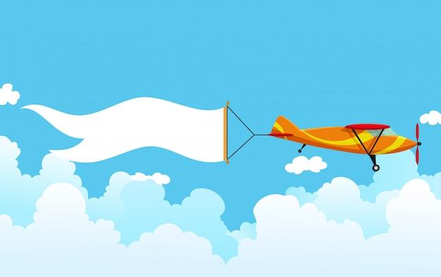 バナーとレトロな飛行機。広告バナーを引っ張る複葉機。メッセージエリアの白いリボンが付いている平面。ベクトルイラスト