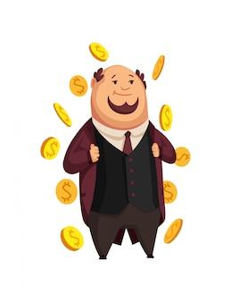 Векторный мультфильм богатых людей. изображение смешного толстяка капиталист в черном костюме. бизнес, финансы, монополия, деньги