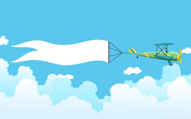 Ретро самолет с баннером. самолет-биплан тянет рекламный баннер. самолет с белой лентой для области сообщений. векторная иллюстрация