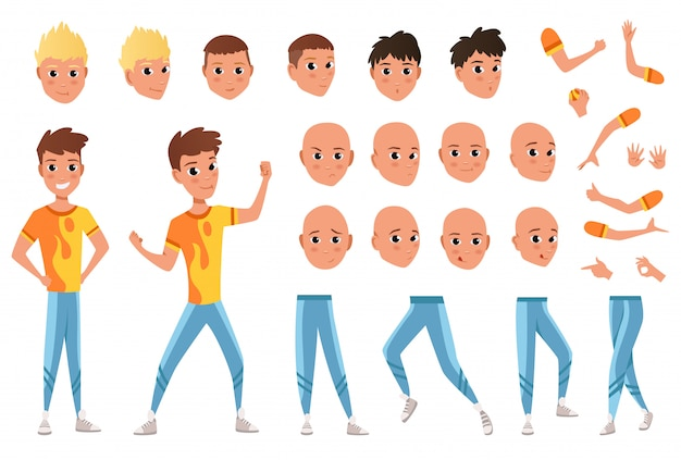 若い男のキャラクター作成セット。完全な長さ、さまざまなビュー、感情、ジェスチャー、白い背景に対して隔離されます。独自のデザインを構築します。漫画フラットスタイルインフォグラフィックイラスト
