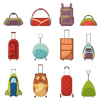 旅行コレクション向けの幼稚なかわいいバッグタイプ。車輪付きの子供ハンドルトラベルバッグ。学童、学生、旅行者、観光客のためのさまざまな明るいバックパック。子供と大人のためのおしゃれなバッグ