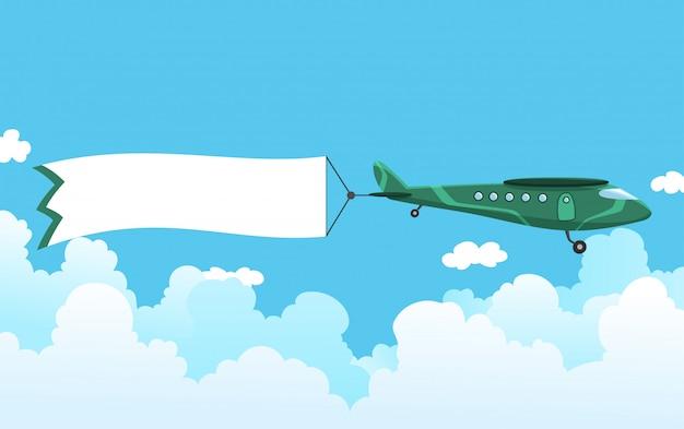 バナーとレトロな飛行機。広告バナーを引っ張る複葉機。メッセージエリアの白いリボンが付いている平面。図