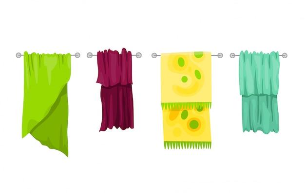 バスタオル。漫画タオルセット。お風呂用布タオル、衛生用漫画布タオルのイラスト