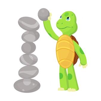 Счастливый молодой мультфильм черепаха играет с камнем. фанни малыш. дизайн логотипа футболки