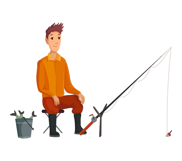 釣り竿で座っている若い漁師と一口待って。バケツで魚を捕まえた。成功した釣り