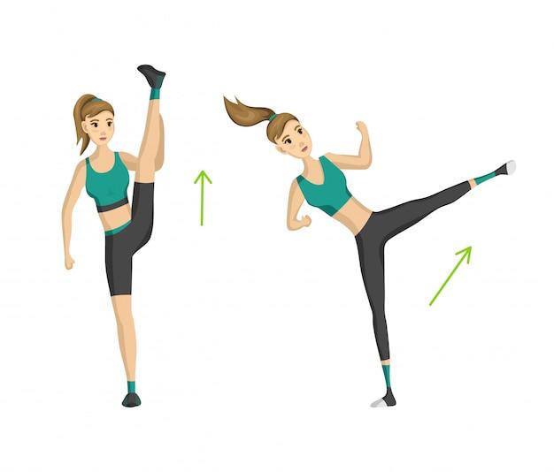 Женщина фитнес. вектор девушка делает спортивные физические упражнения.