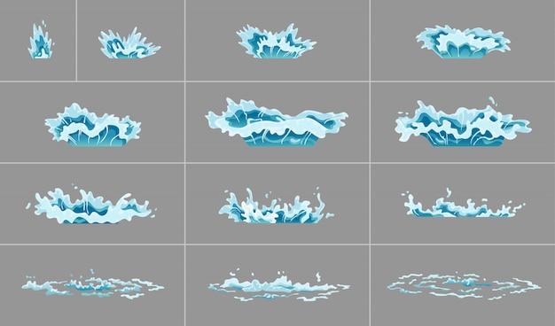 スプライト水スプラッシュアニメーション。透明な背景に衝撃波。スプレーモーション、スパッタブラスト、ドリップ。ゲーム、ビデオ、漫画のフラッシュアニメーション用の透明なウォーターフレーム