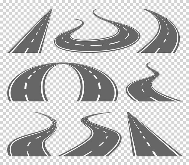 Извилистая изогнутая дорога или шоссе с разметкой