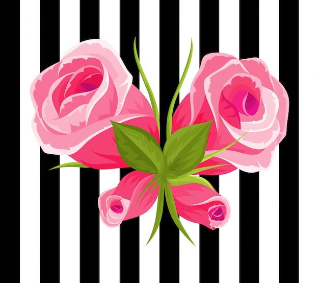 ピンクのバラとつぼみ