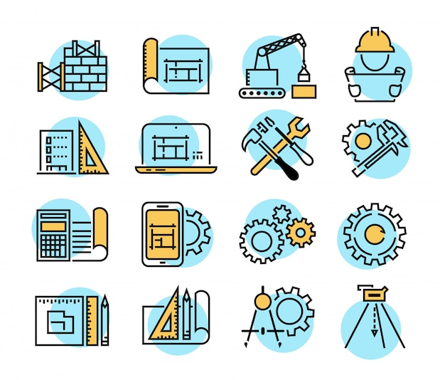 Инженерные и производственные векторные иконки