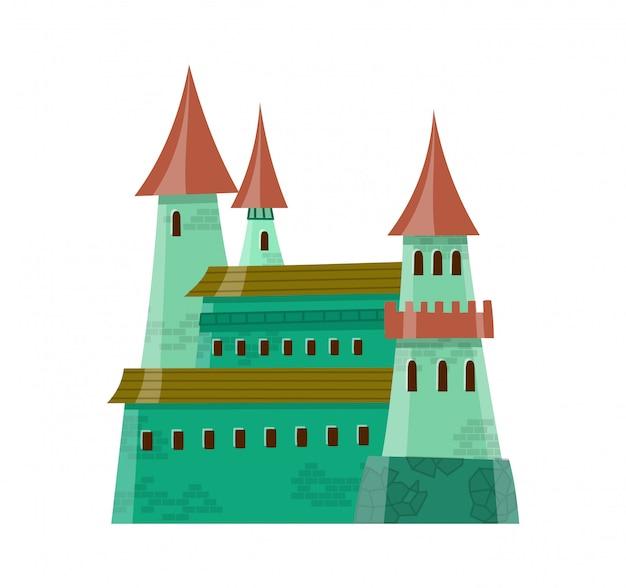 Сказочный средневековый замок в мультяшном стиле